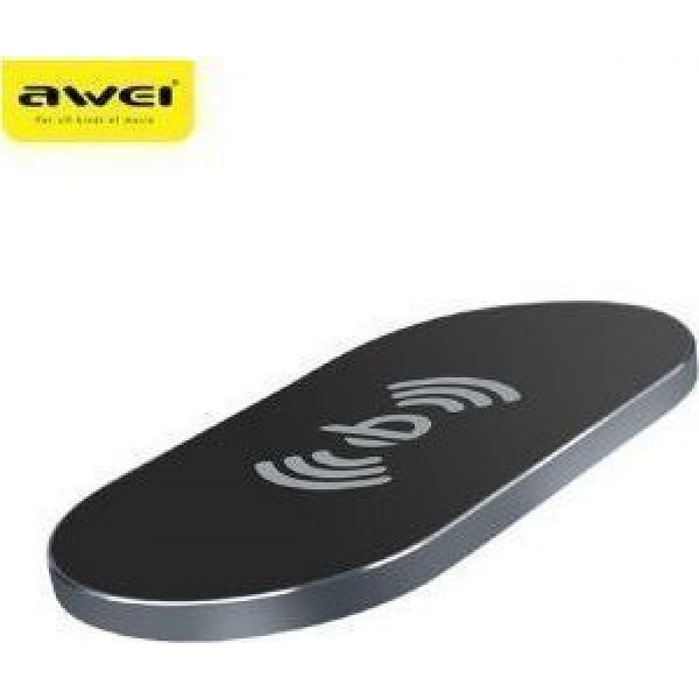 Awei W2 Wireless Chargers, Transer  High Quality Altra-thin Alloy Qi Charger - (Γκρι-Μαύρο)