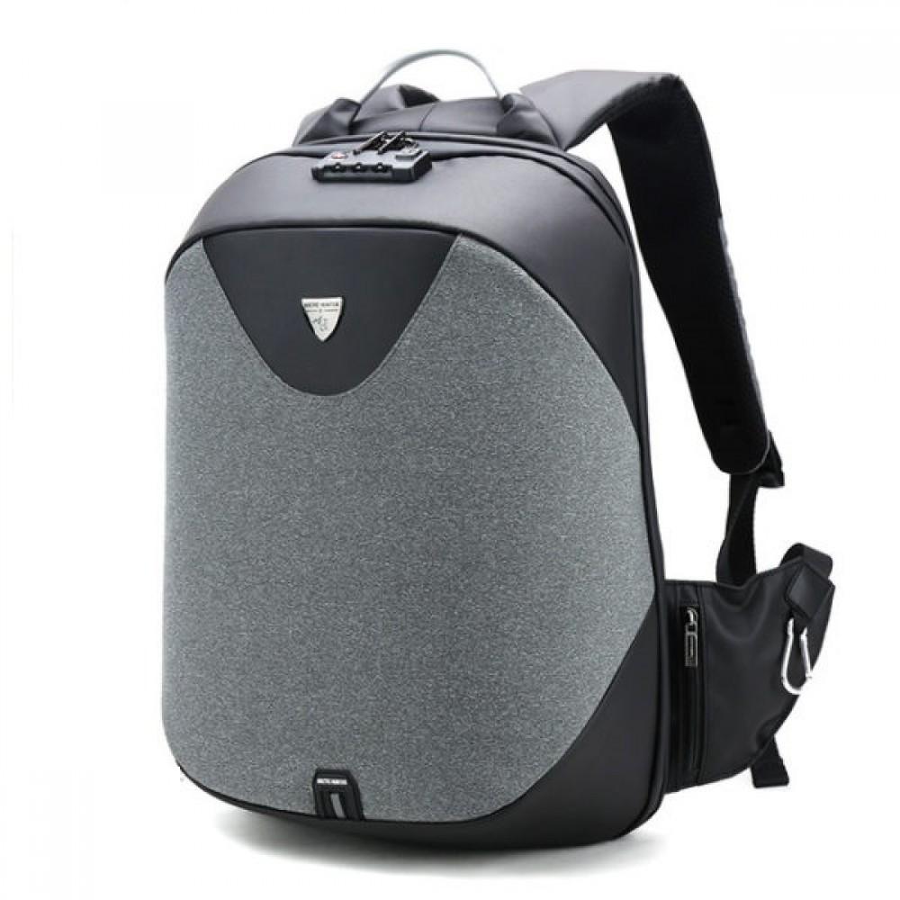 ARCTIC HUNTER τσάντα πλάτης laptop, USB, αδιάβροχη, lock, Γκρί