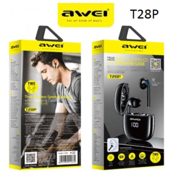 AWEI T28P Bluetooth Ακουστικά TWS με Θήκη Φόρτισης - Black