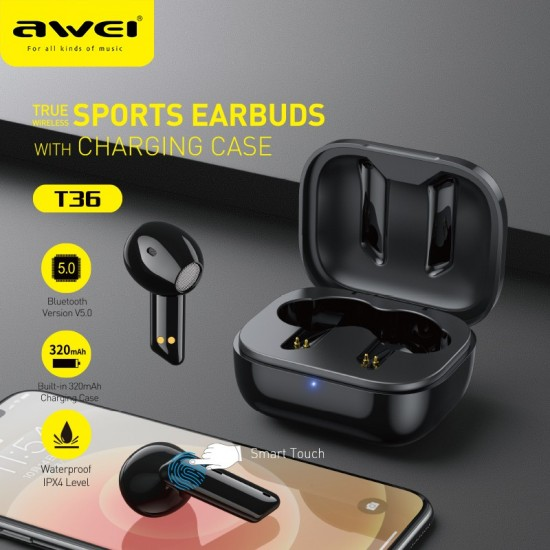 AWEI T36 Bluetooth Ακουστικά TWS HiFi Sound με Θήκη Φόρτισης - Black