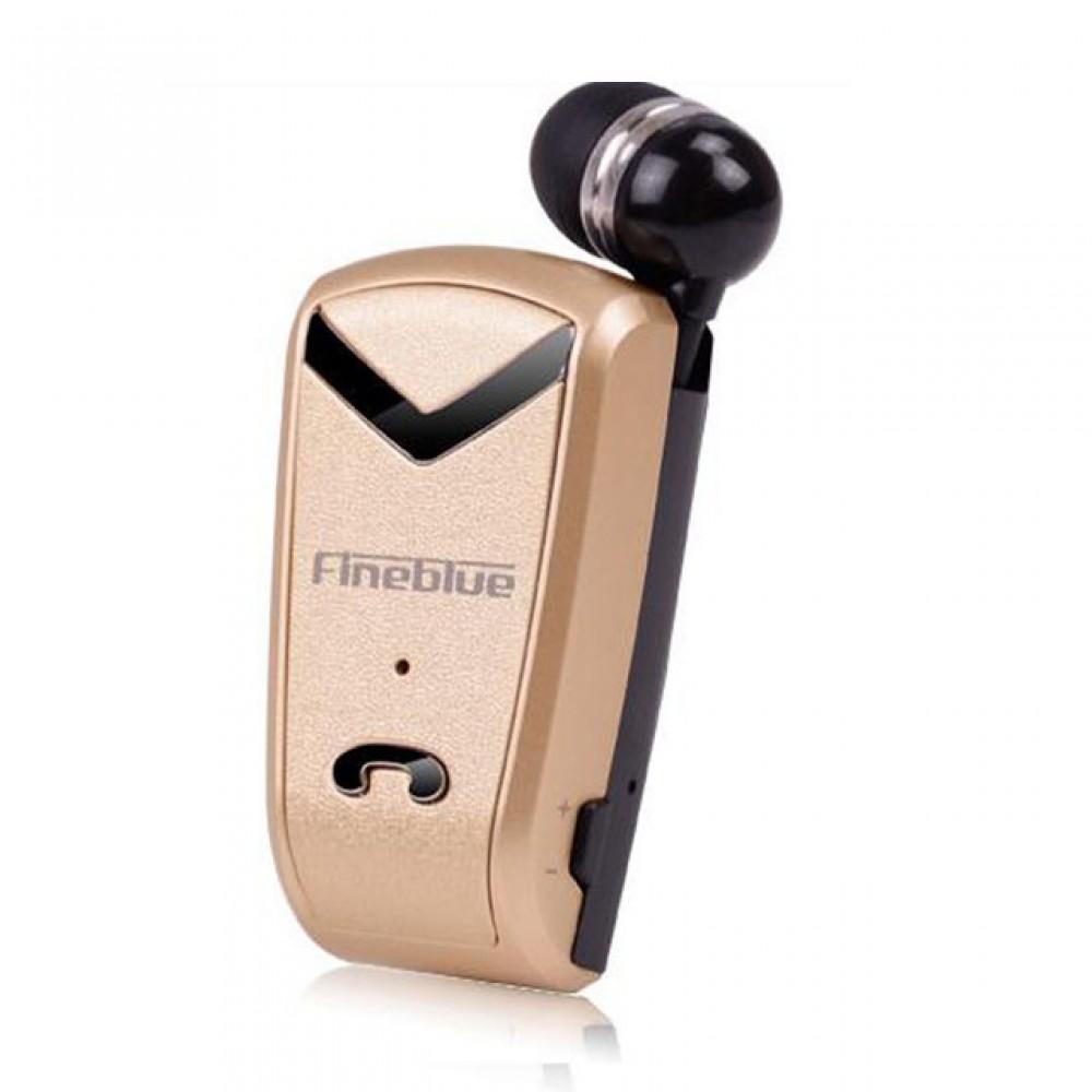 Ακουστικό Fineblue F-V2 Wireless Bluetooth Handsfree 2in1 Multipoint Connecting - Χρυσό