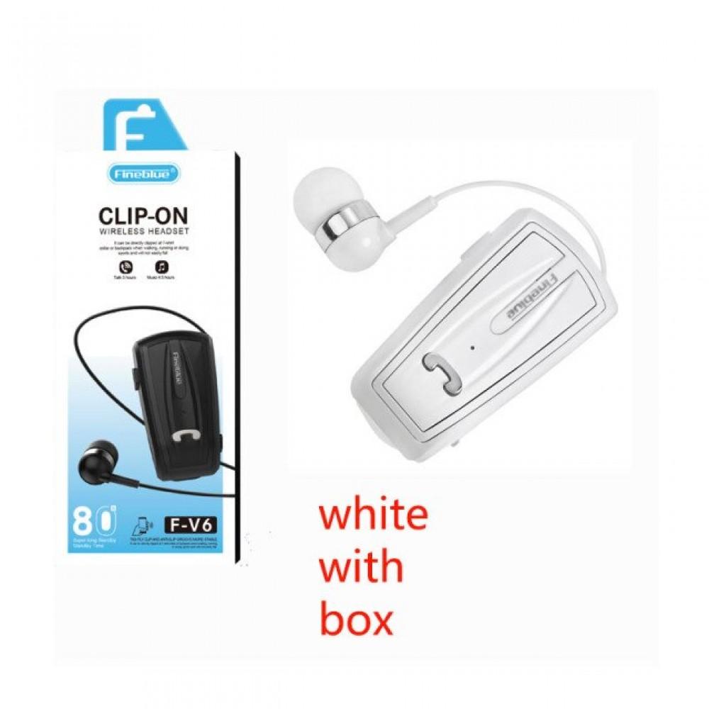 Ακουστικό Fineblue F-V6 2in1 Multipoint Connecting Wireless Bluetooth Handsfree Λευκό