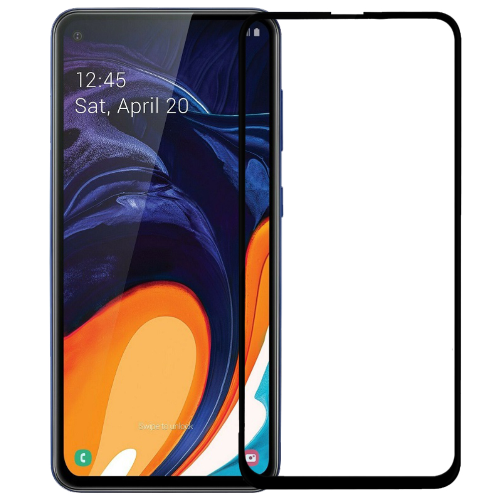 Tempered Glass 9H Full Face & Full Glue For Samsung Galaxy A60 _ Black