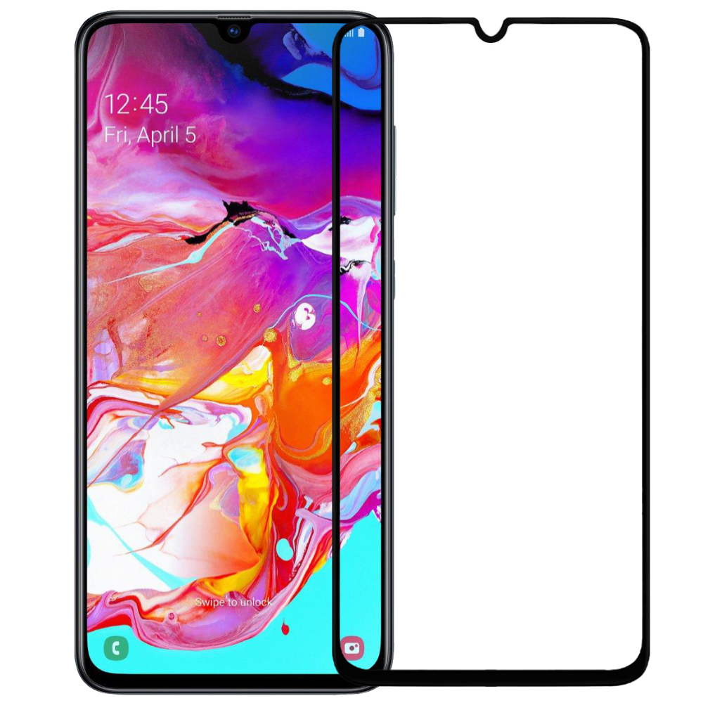 Tempered Glass 9H Full Face & Full Glue For Samsung Galaxy A70 _ Black