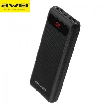 Awei P70K Portable Power Bank 20,000mAh Με 2 USB Output Mobile Quick Charger - Μαύρο