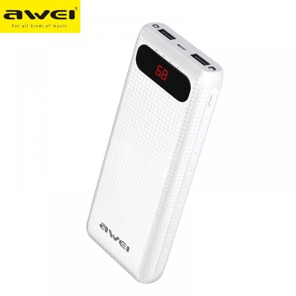 Awei P70K Portable Power Bank 20,000mAh Με 2 USB Output Mobile Quick Charger - Aσπρο