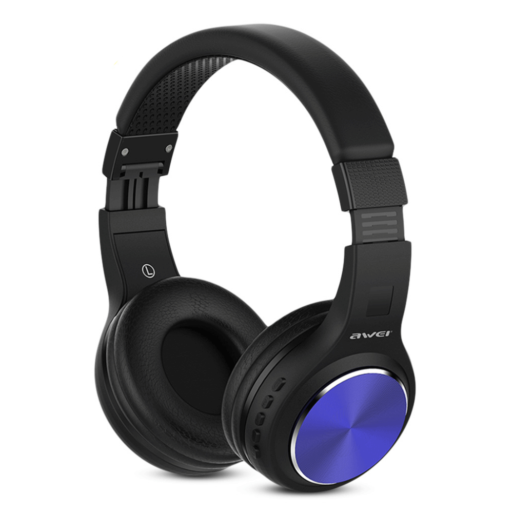 AWEI A600BL Wireless Bluetooth Over-Ear Headphones Stereo Sound Noise Canceling With MIC BLUE