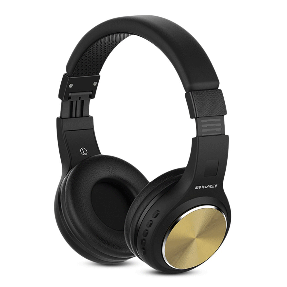 AWEI A600BL Wireless Bluetooth Over-Ear Headphones Stereo Sound Noise Canceling With MIC GOLD
