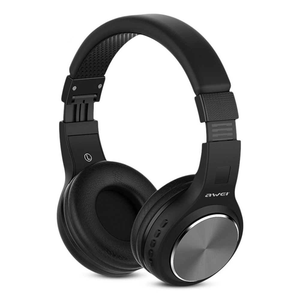 AWEI A600BL Wireless Bluetooth Over-Ear Headphones Stereo Sound Noise Canceling With MIC GREY
