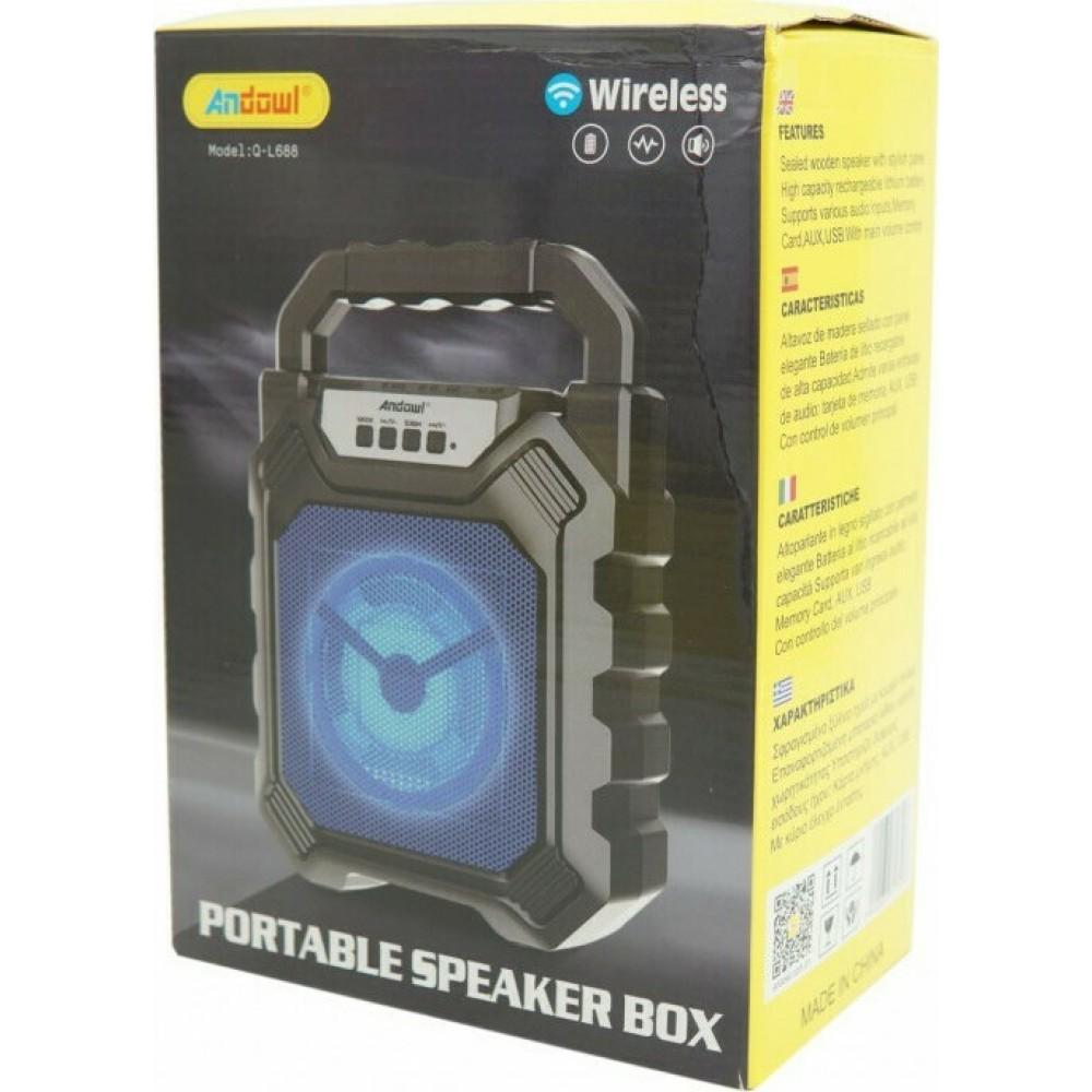 Andowl Q-L688B Ηχείο Bluetooth 20W με Ραδιόφωνο και 10 ώρες Λειτουργίας Black
